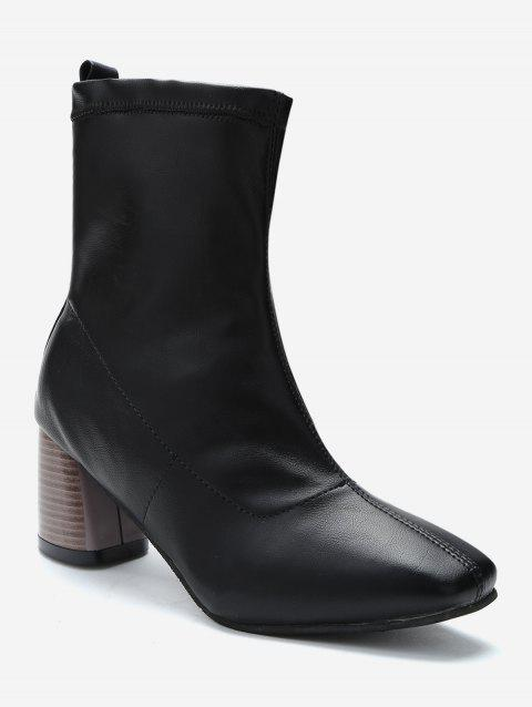 Stacked Heel PU Leather Ankle Boots - BLACK EU 37