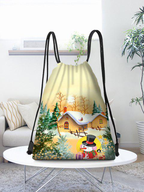 Christmas Snow Scenery Printed Candy Drawstring Bag - multicolor