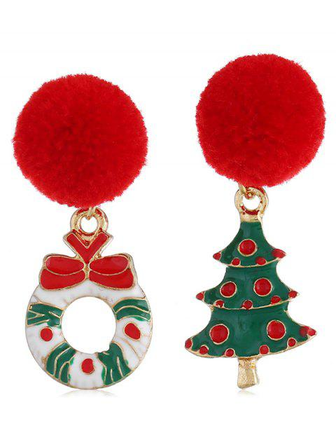 Christmas Tree Fuzzy Ball Drop Earrings - multicolor