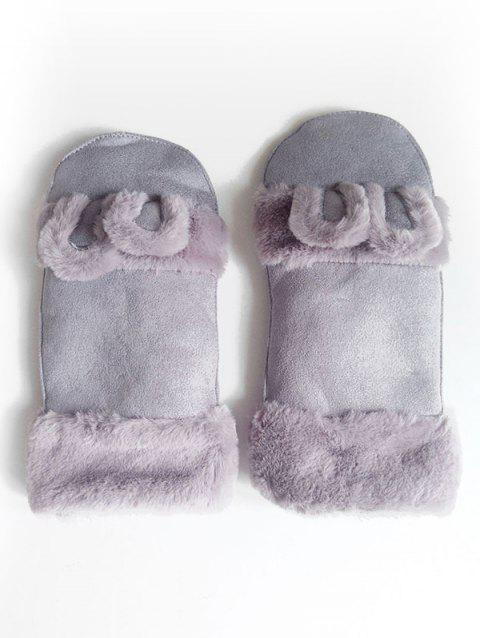 Cute Solid Color Fuzzy Mitten Gloves - BLUE GRAY