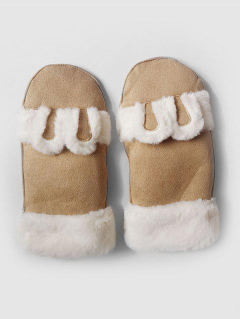 Cute Solid Color Fuzzy Mitten Gloves - COOKIE BROWN