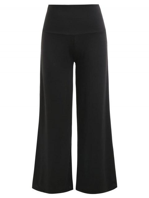 High Waisted Wide Leg Pants - BLACK XL