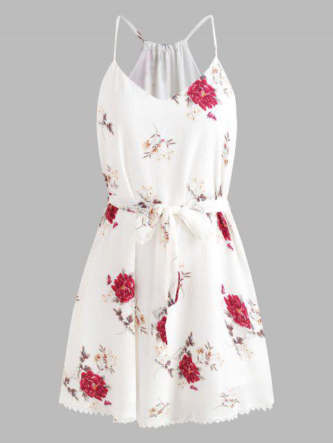 Spaghetti Strap Belted Floral Dress - WHITE L