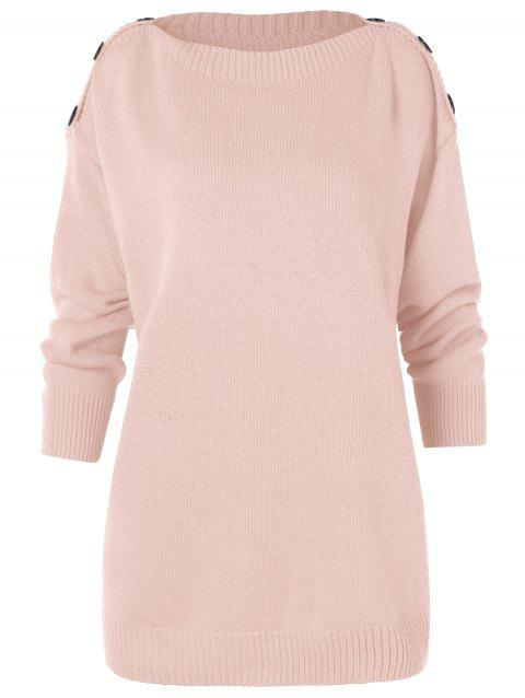 Buttoned Shoulder Tunic Sweater - APRICOT M