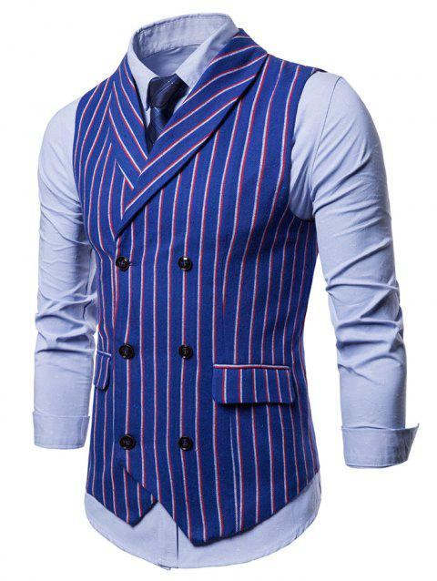 Double Breasted Shawl Collar Striped Waistcoat - BLUE XS