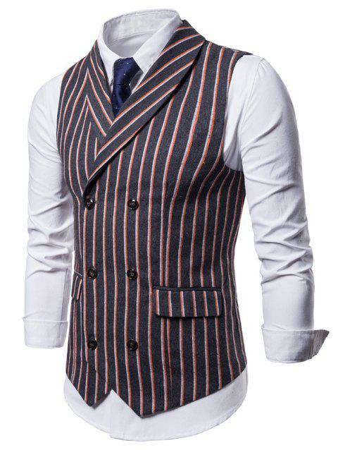 Double Breasted Shawl Collar Striped Waistcoat - DARK SLATE GREY S