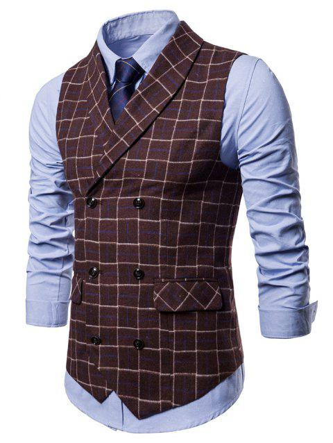 Double Breasted Shawl Collar Checked Waistcoat - COFFEE XS