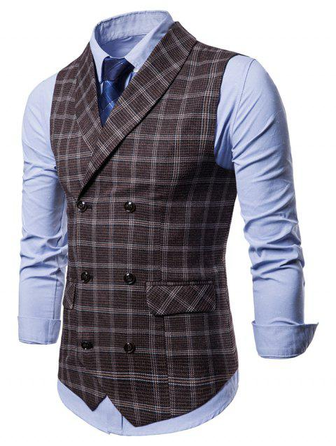 Double Breasted Shawl Collar Plaid Waistcoat - COFFEE M