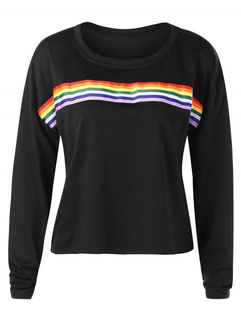 d1e7e2e49e 82% OFF] 2019 Long Sleeves Rainbow Stripe T Shirt In BLACK | DressLily