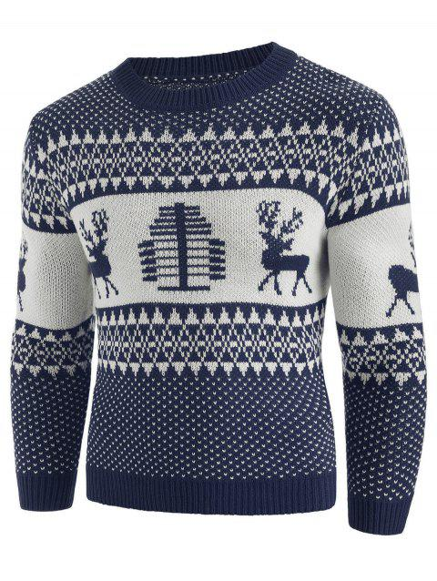 Christmas Deer Print Crew Neck Sweater - DENIM DARK BLUE 2XL