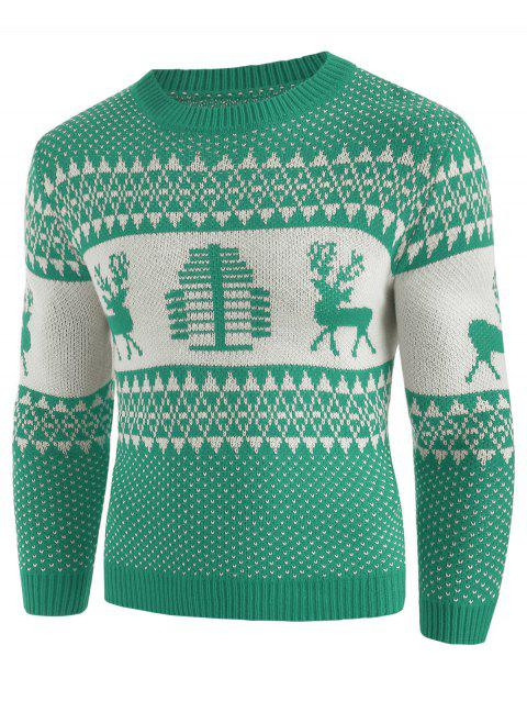 Christmas Deer Print Crew Neck Sweater - GREEN APPLE 2XL