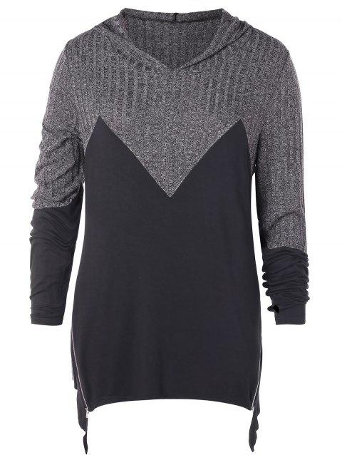 Plus Size Hooded Contrast Asymmetrical Marled T-shirt - GRAY 3X