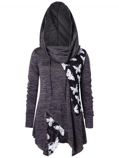 effedf11492 Plus Size Hooded Marled Lace Butterflies T-shirt - ASH GRAY L