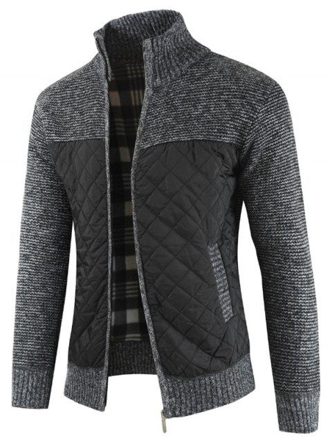 Casual Zip Up Pockets Patchwork Cardigan - DARK GRAY M