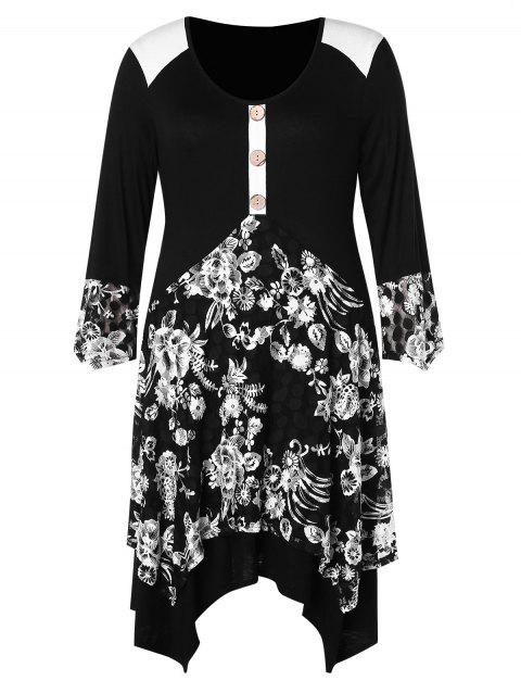 Plus Size Floral Print Asymmetric Dress - BLACK 1X
