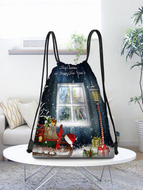 Christmas Outside Window Scenery Gifts Print Drawstring Bag - multicolor