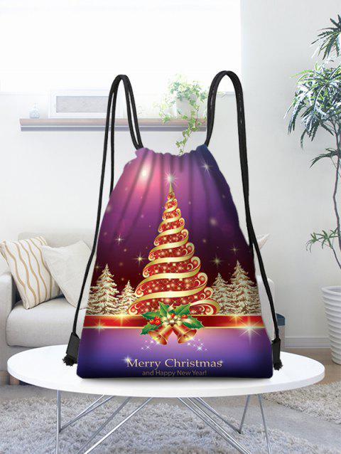Sparkly Christmas Tree Printed Storage Gift Drawstring Bag - multicolor