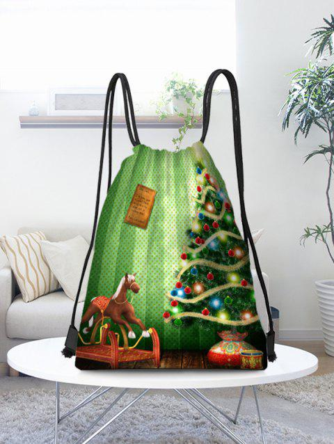 Christmas Tree Baubles and Horse Printed Storage Drawstring Bag - multicolor