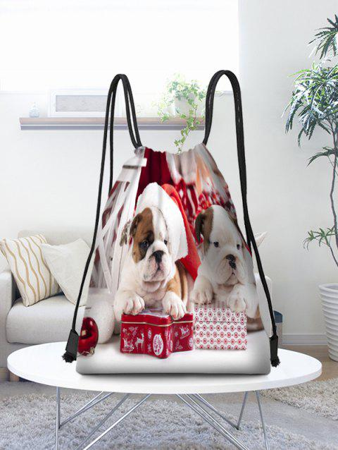Christmas Dogs Pattern Gift Drawstring Bag - multicolor