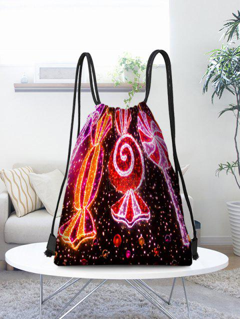 Christmas Candy Printed Storage Drawstring Bag - multicolor