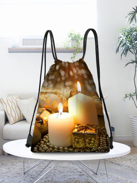 Christmas Candles Print Candy Gift Drawstring Storage Bag - multicolor