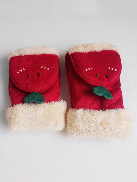 Cute Cartoon Flanging Fuzzy Gloves - LAVA RED
