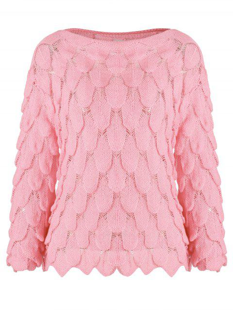 f84fb3f9a1 53% OFF  2019 Boat Neck Openwork Knitted Pullover Sweater In LIGHT ...