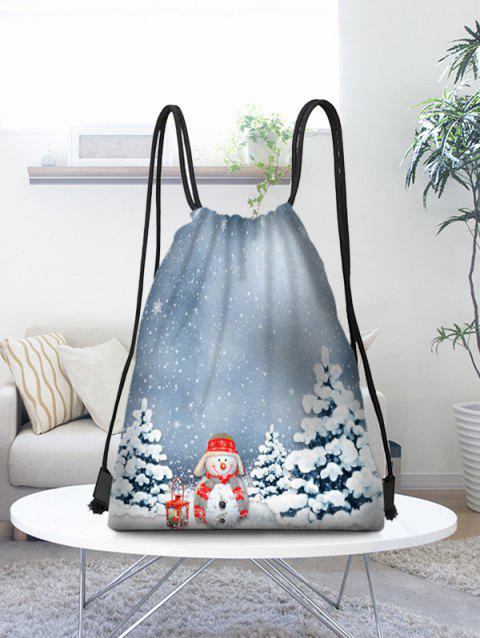 Christmas Scenery Snowman Pattern Gift Candy Storage Bag - multicolor