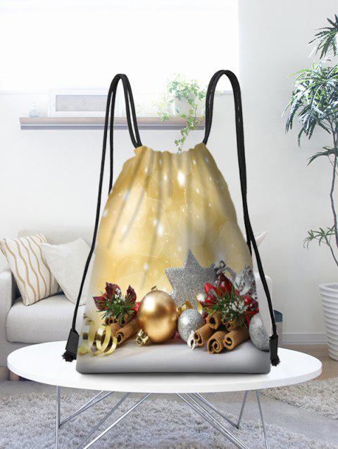 Christmas Baubles Pattern Gift Candy Storage Drawstring Bag - multicolor