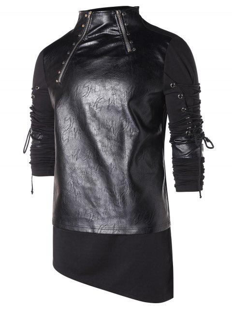 High Low Hem Zippers Lace Up T-shirt - BLACK XL