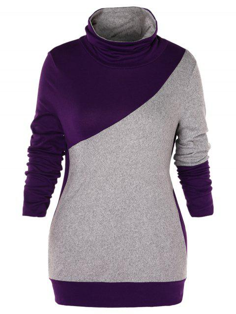 Plus Size Turtleneck Two Tone Sweatshirt - multicolor 1X