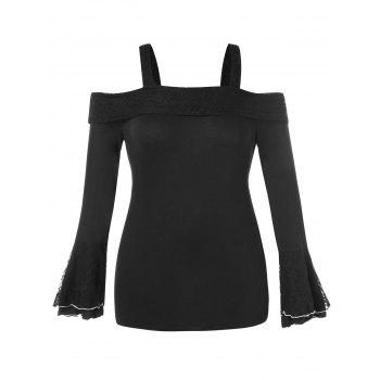Plus Size Cold Shoulder Bell Sleeve Lace Panel T-shirt