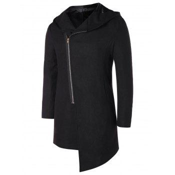 Asymmetric Zip Up Hooded Longline Coat