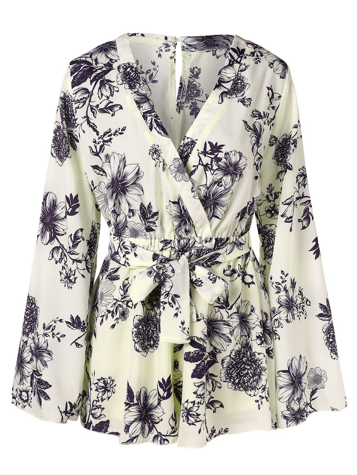Floral Printed Surplice Belt Romper - multicolor M
