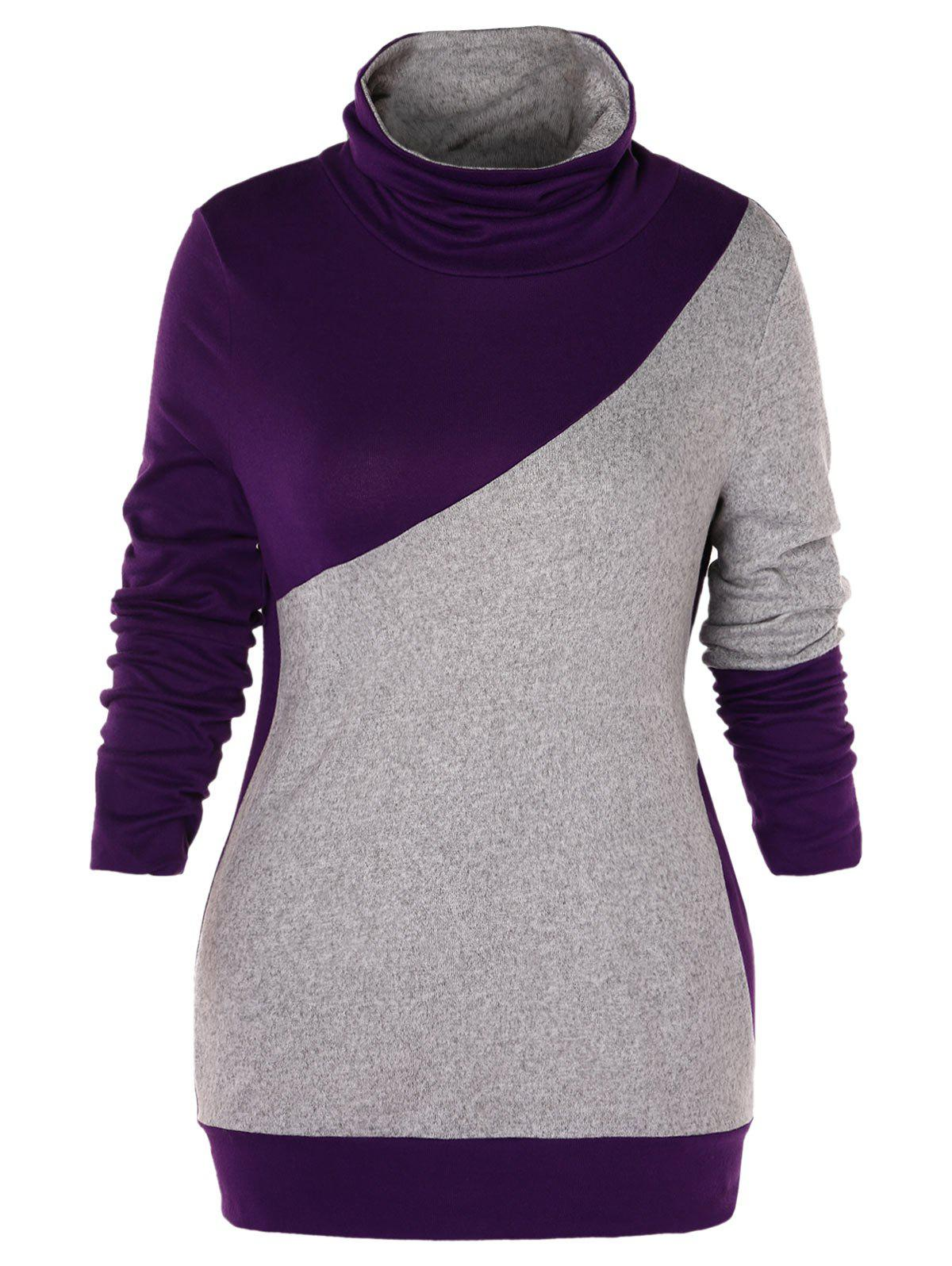 Plus Size Turtleneck Two Tone Sweatshirt - multicolor 4X