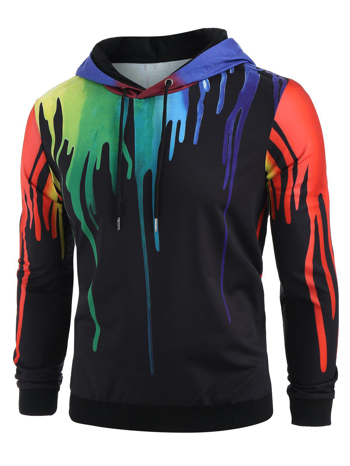 Colorful Splatter Paint Pattern Hoodie - multicolor XL