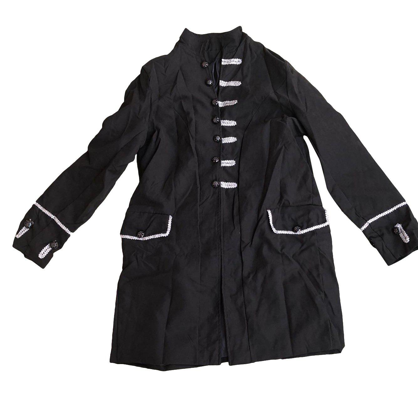 Men Vintage Jacket Outfit Jacquard Steampunk Gothic Cosplay Costume Overcoat - BLACK 2XL