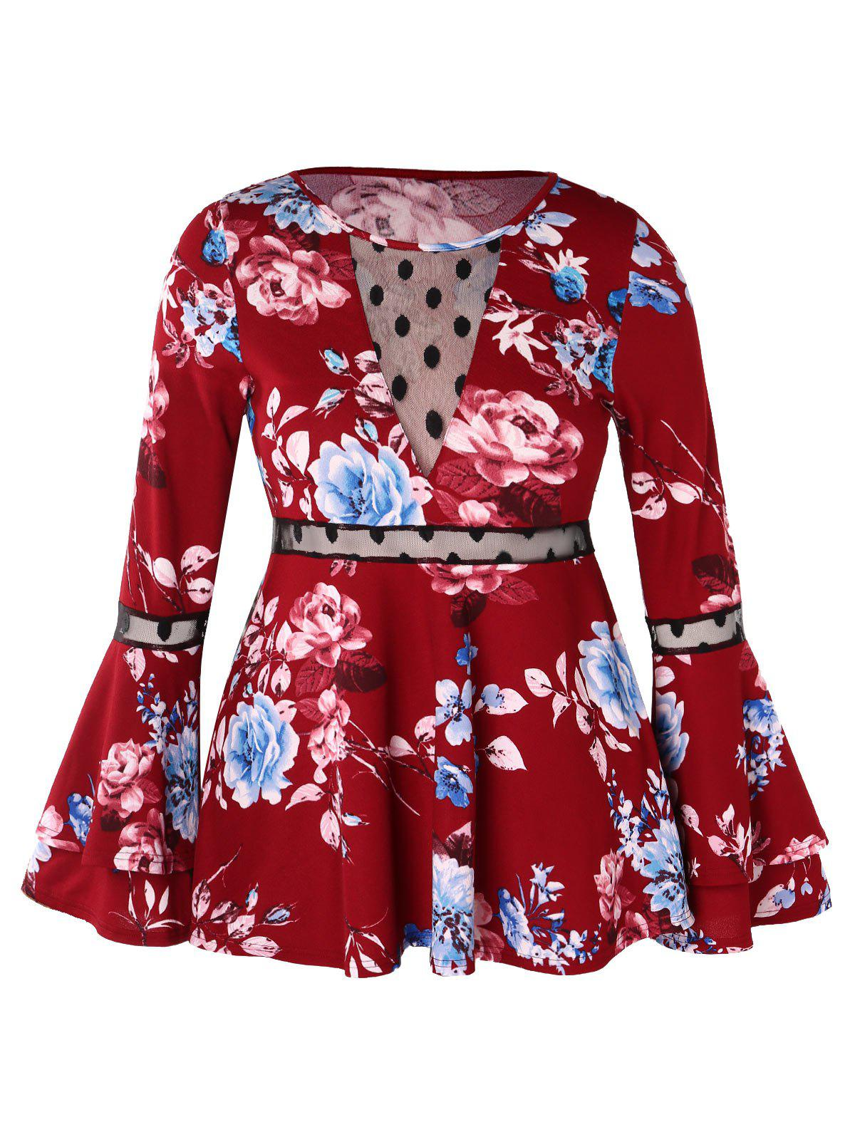 Plus Size Bell Sleeve Floral Print Blouse - RED WINE L