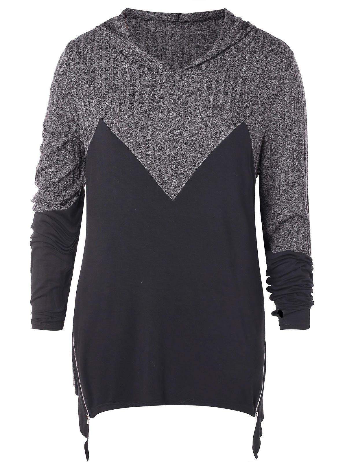 Plus Size Hooded Contrast Asymmetrical Marled T-shirt
