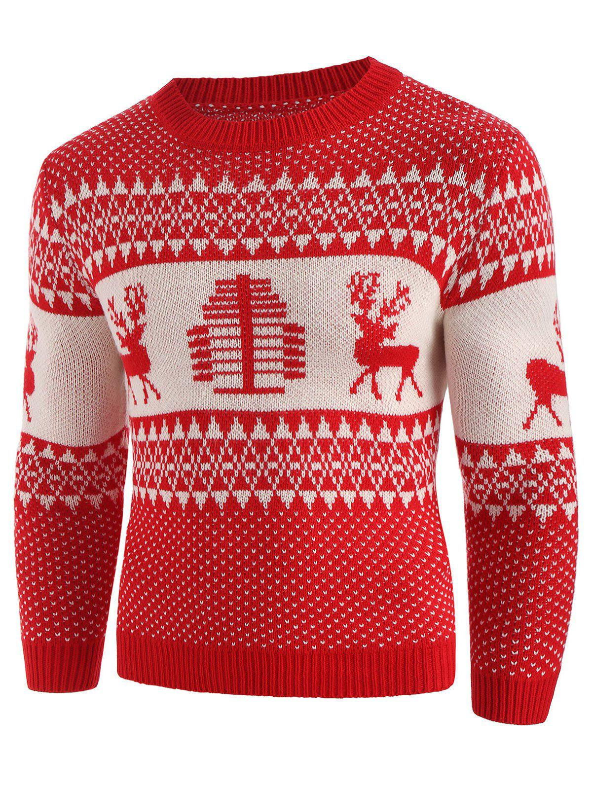 Christmas Deer Print Crew Neck Sweater - CHESTNUT RED 2XL