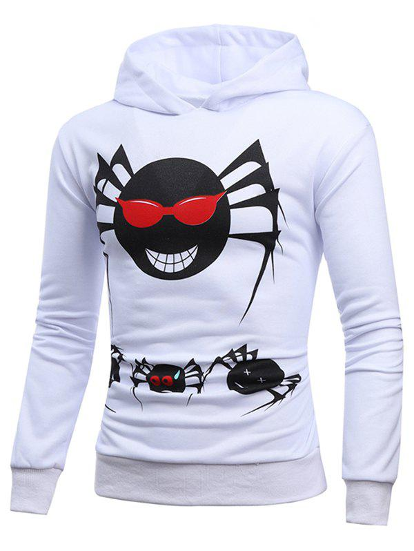 Halloween Spider Casual Pullover Hoodie - NATURAL WHITE M