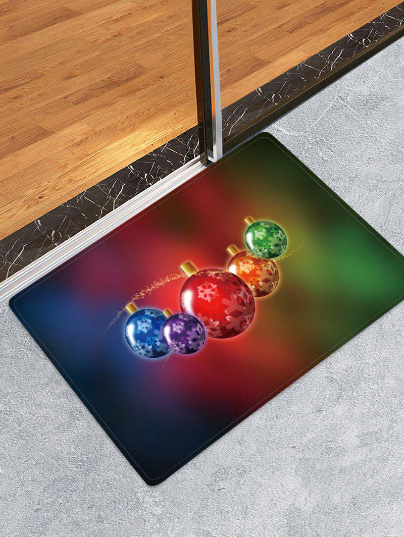 Colorful Christmas Ball Pattern Water Absorption Area Rug - multicolor W16 X L24 INCH