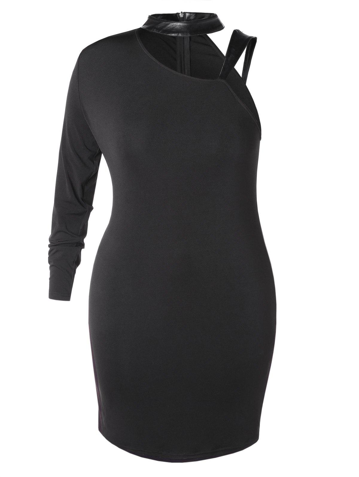 Plus Size Choker Cut Out Bodycon Dress - BLACK 5X