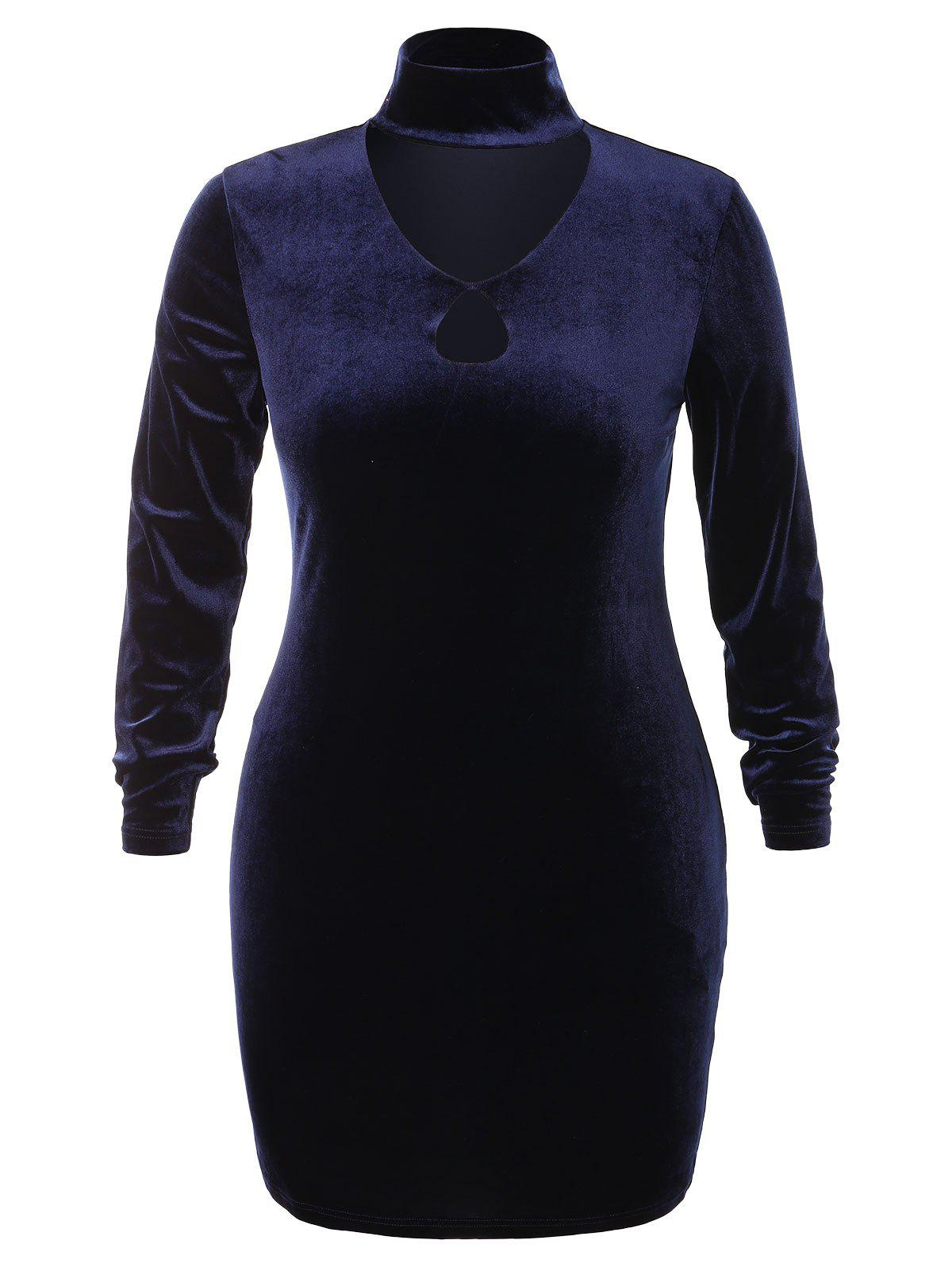 Plus Size High Neck Cut Out Bodycon Dress