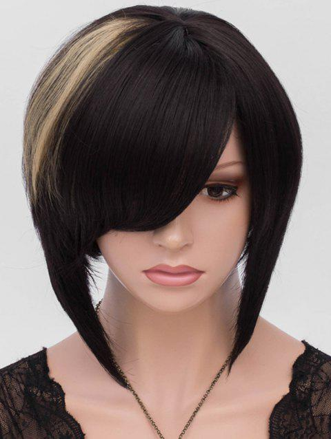 Short Side Bang Colormix Asymmetric Straight Synthetic Wig - multicolor