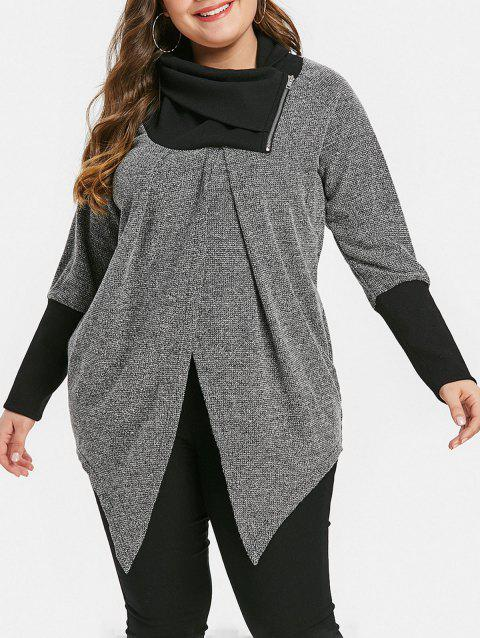 Plus Size Two Tone Zip Turtle Neck Top - GRAY 5X