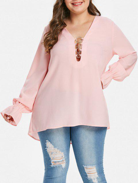 Plus Size Plunging Neckline O Ring Blouse - PINK 1X