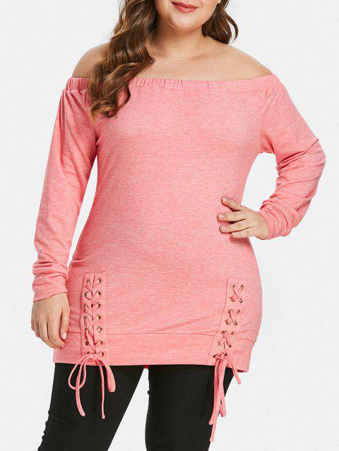 Off The Shoulder Plus Size Lace Up T-shirt - PINK 4X