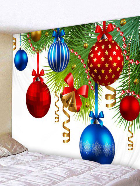 Christmas Baubles Bowknot Print Wall Art Tapestry - multicolor W91 X L71 INCH