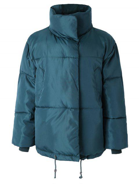 Funnel Collar Covered Button Puffer Coat - PEACOCK BLUE L